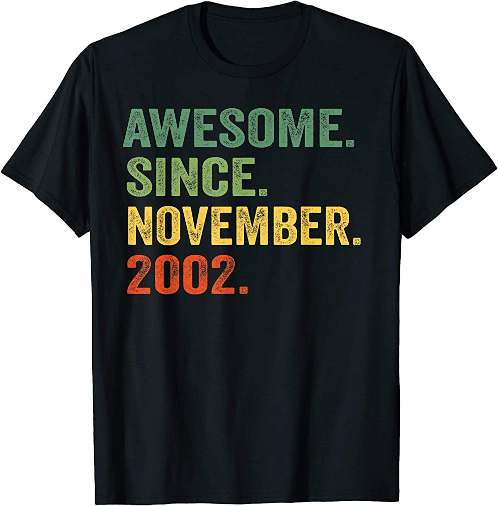 Awesome Since November 2002 19th Birthday 19 Yrs Old T-shirt