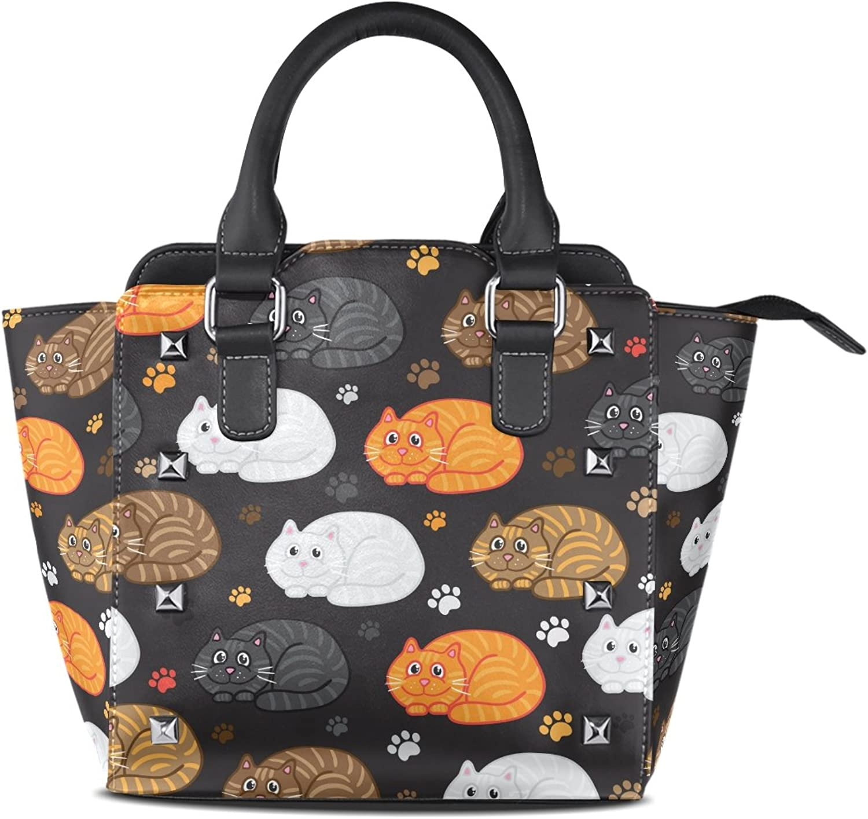 My Little Nest Women's Top Handle Satchel Handbag Funny Doodle Cats Ladies PU Leather Shoulder Bag Crossbody Bag
