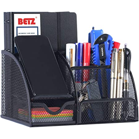 Office Supplies Desk Organizer Caddy with 6 Compartments + 1 Drawer for Pen & Pencil Holder, Desk Essentials to Collect Desk Accessories, Mesh Desktop Organizer for Home, School, College Dorm, Black