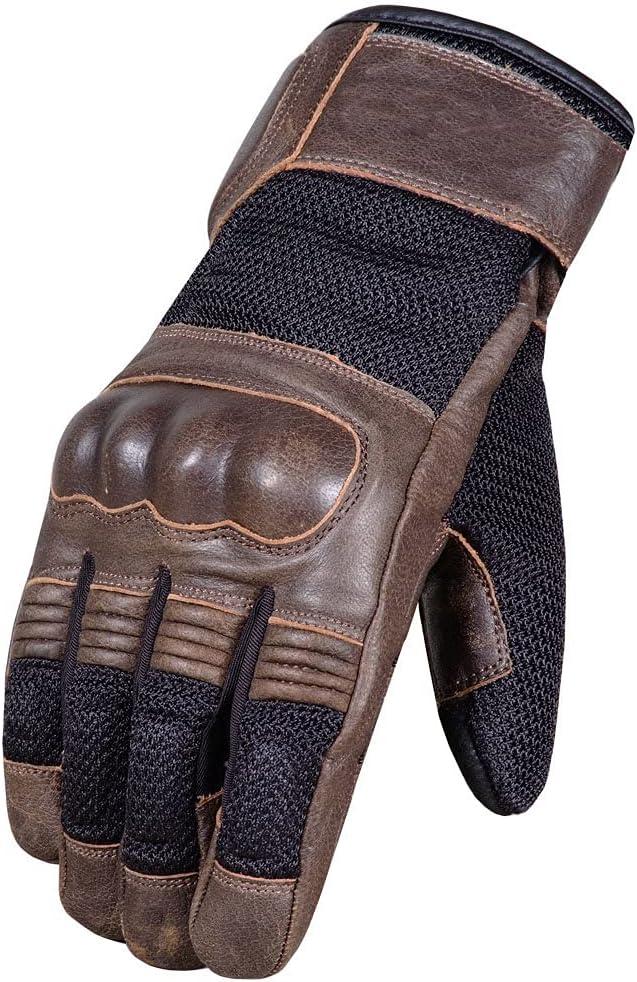 Men's Cafe Racer Cruiser Motorcycle Gloves Very popular Biker Mesh L Leather Time sale