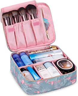 Travel Makeup Bag Large Cosmetic Bag Make up Case Organizer for Women and Girls (Flamingo)