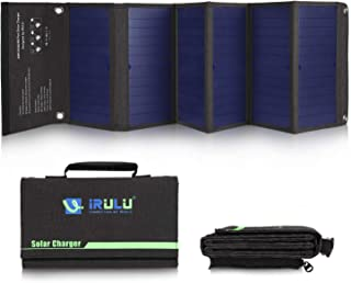 iRULU Solar Charger 42W Solar Panel with Dual USB Port Waterproof Outdoor Solar Battery Charger Foldable Camping Travel Charger for iPhone,iPad,Samsung Galaxy s9/s8,Tablet and More