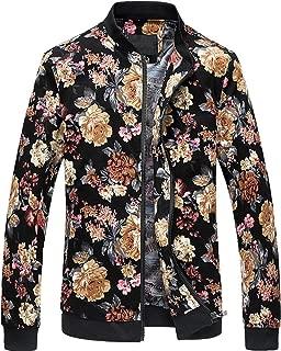 Men's Stylish Flowers Print Zipper Front Bomber Jacket
