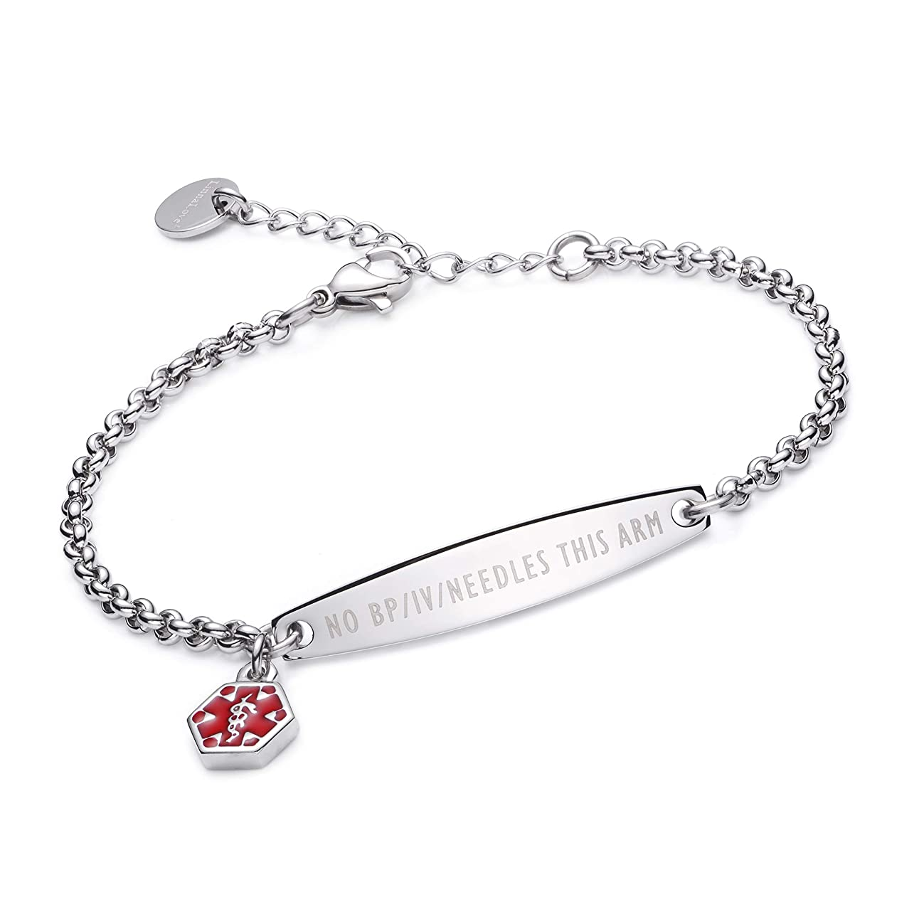 linnalove-Pre-Engraved Simple Rolo Chain Medical Alert id Bracelet for Women & Girl