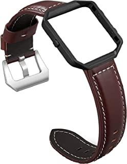 SKYLET for Fitbit Blaze Bands, Genuine Leather Accessories Replacement Strap with Metal Frame for Fitbit Blaze Smart Watch...