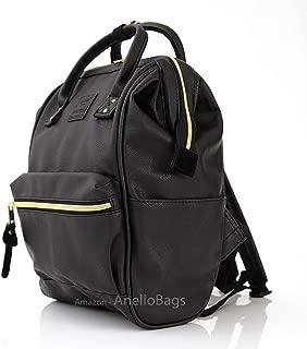 Japan Anello Backpack Unisex BLACK MINI SMALL PU LEATHER Rucksack School Bag Campus
