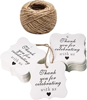 Paper Gift Tags Thank You for Celebrating with Us, Whaline 100 Pcs Paper Hang Tag for Thanksgiving Day Wedding Party Favors, Baby Shower with 100 Feet Natural Jute Twine (Heart White)