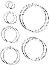 6 Pairs Multisize Fake Earrings Hoop Non-pierced Nose Ring Spring Hoop Earrings Lip Ear Clip