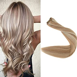 Full Shine 16 inch Balayage Ombre Sew in Human Hair Extensions Remy Hair Weft Full Head Color #10 Golden Brown And #16 Golden Blonde Hair Weft Remy Hair 100g Per Package