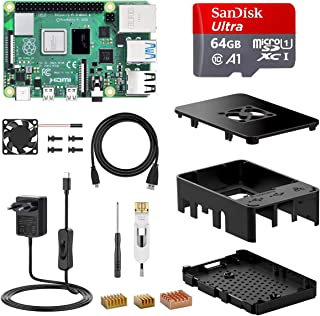 NinkBox Raspberry Pi 4 Modello B Starter Kit, RPi Barebone 4GB RAM + MicroSD 64GB, Alimentatore 5.1V / 3A con Interruttore, RPi 4 4GB Il Modello Successivo del Raspberry Pi 3b+