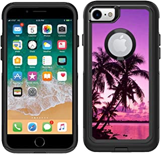 Teleskins Protective Designer Vinyl Skin Decals for Otterbox Commuter iPhone 7 / iPhone 8 Case - Tropical Palm Trees Sunset Beach Design Pattern - only Skins and not Case