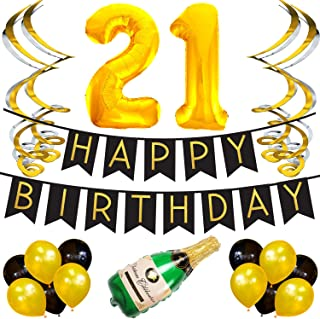 Sterling James Co. 21st Birthday Party Pack - Black & Gold Happy Birthday Bunting, Poms, and Swirls Pack- Birthday Decorations - 21st Birthday Party Supplies