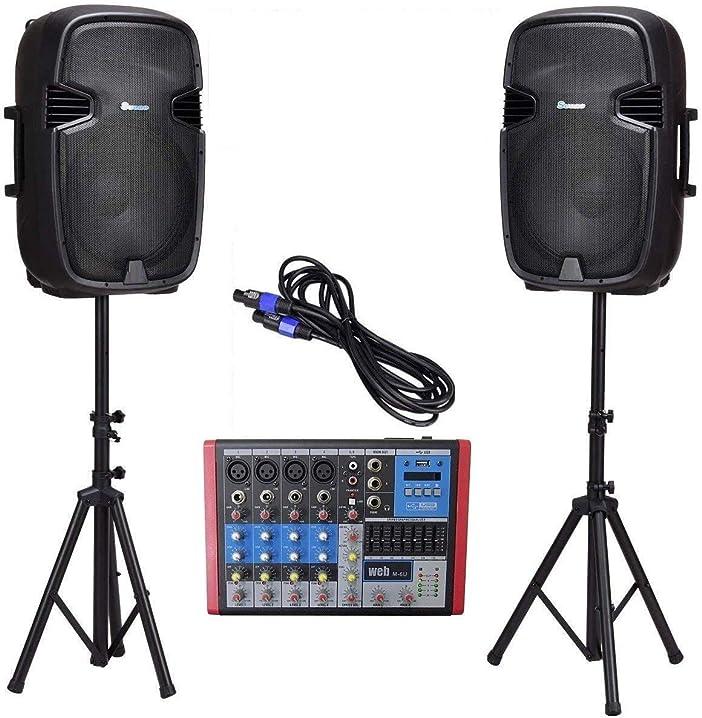 Impianto audio completo dj karaoke 1700w casse amplificate 15
