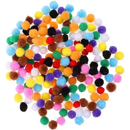 HEALLILY 200 Pcs Mini Boules de Pompon Boule de Laine pour Bricolage Peluche Artisanat Décoration DIY (15mm, Couleur Mixte)