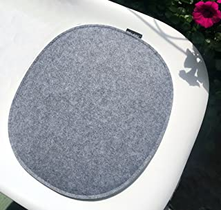 Welaxy Felt seat cushion pad for Eames plastic Chair DSW Pads OVAL- (light grey + White)