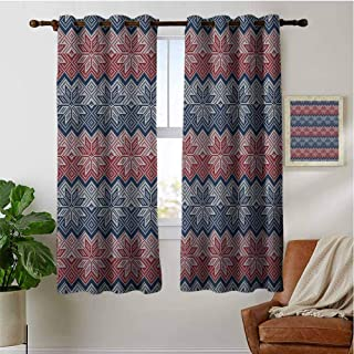 PRUNUSHOME Traditional Floral Retro Window Curtains for Kitchen, Thermal Insulated Window Treatments Blackout Curtain Panels (Set of 2 Panels,42 by 90 Inch)