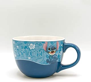 Silver Buffalo LI120233 Lilo and Stitch Wavy Style Ceramic Soup Mug, 24-Ounce, Blue