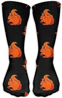 Hunter qiang, Calcetines largos para hombre y mujer, diseño de ardilla y hojas de arce, estilo informal, de tejido suave, para deporte, largos: 50 cm
