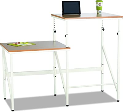 Safco Products Sit/Stand Bi-Level Desk, Beech/White