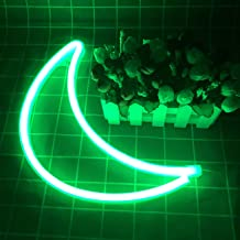 Neon Sign Decorative Moon LED Night Light Art Wall Decor for Children Room Birthday Party Decor Powered by Battery/USB (Green)