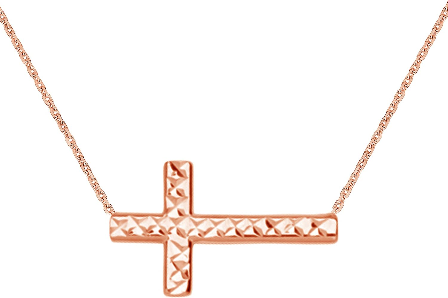 Ritastephens 14K Gold Sideways Reversible Shiny Diamond-cut Cross Necklace Adjustable Chain 16-18 Inches (Yellow, Pink, or White)