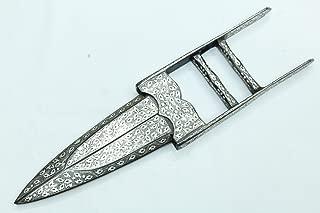 PH Artistic Silver Wire work damascus Steel Blade Scissor Dagger knife 13.7 Inches