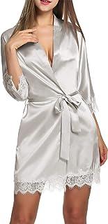 BeautyUU - Vestaglia da donna in raso corta con cintura, sexy, kimono con tasche, camicia da notte per sposa, biancheria d...