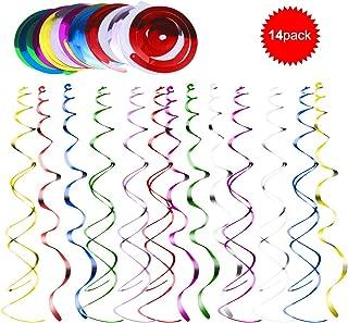 Bodas de Navidad Cumplea/ños 2 Tama/ños Multicolor Remolino Espiral Serpentinas para El D/ía San Valent/ín 14pcs Decoraciones Espirales Colgantes para Fiesta Decoraci/ón de Remolino