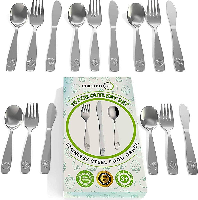 15 Piece Stainless Steel Kids Silverware Set Child And Toddler Safe Flatware Kids Utensil Set Metal Kids Cutlery Set Includes 5 Small Kids Spoons 5 Forks 5 Knives