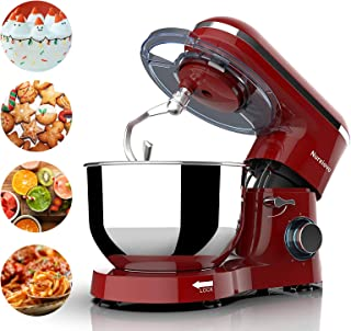 Nurxiovo 6.5QT Stand Mixer Kitchen, Tilt-Head 6-Speed Food Stand Mixer, 660W Electric Cake Mixer with Dishwasher Safe Dough Hook, Whisk, Beater, Splash Lid and Strong Suction Cups Red