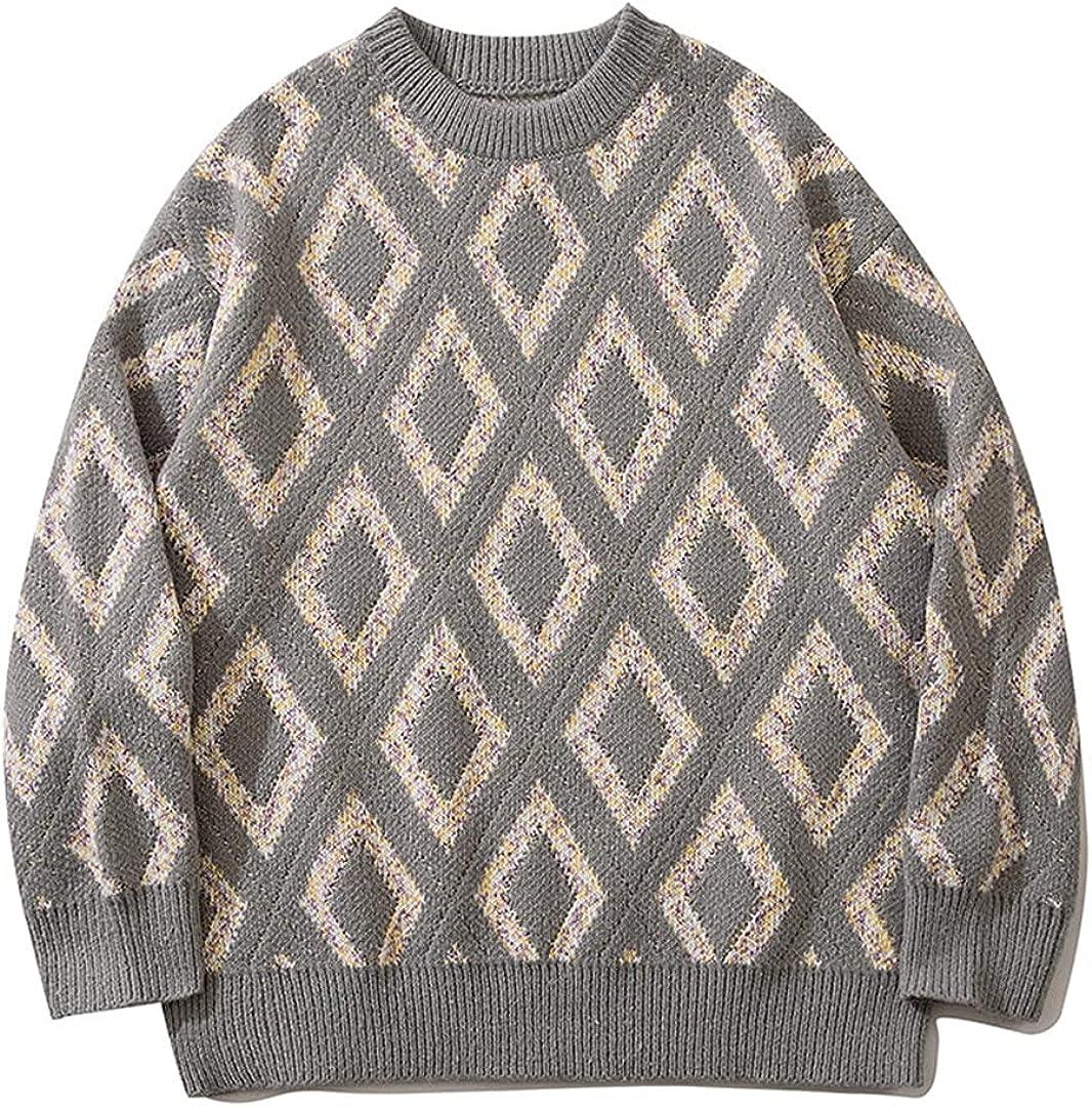 KCLDFJ Harajuku Retro Hip Hop Sweater Men's Street Pullover Hip Hop Contrast Color Knitwear Sweater