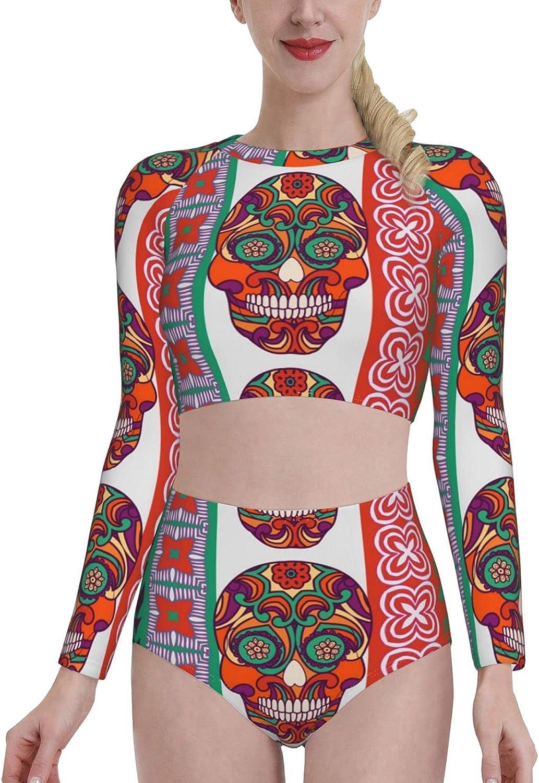 Sugar Skull Dia De Los Muertos Women's Two Piece Swimsuit Long Sleeve Rash Guard Swimwear (p28)