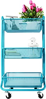DESIGNA 3-Tier Metal Mesh Rolling Storage Cart with Utility Handle (Turquoise)