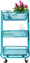 DESIGNA 3-Tier Metal Mesh Utility Cart, Rolling Storage Art Carts with Handle, Bathroom Craft Supply Carts with Wheels, Turquoise