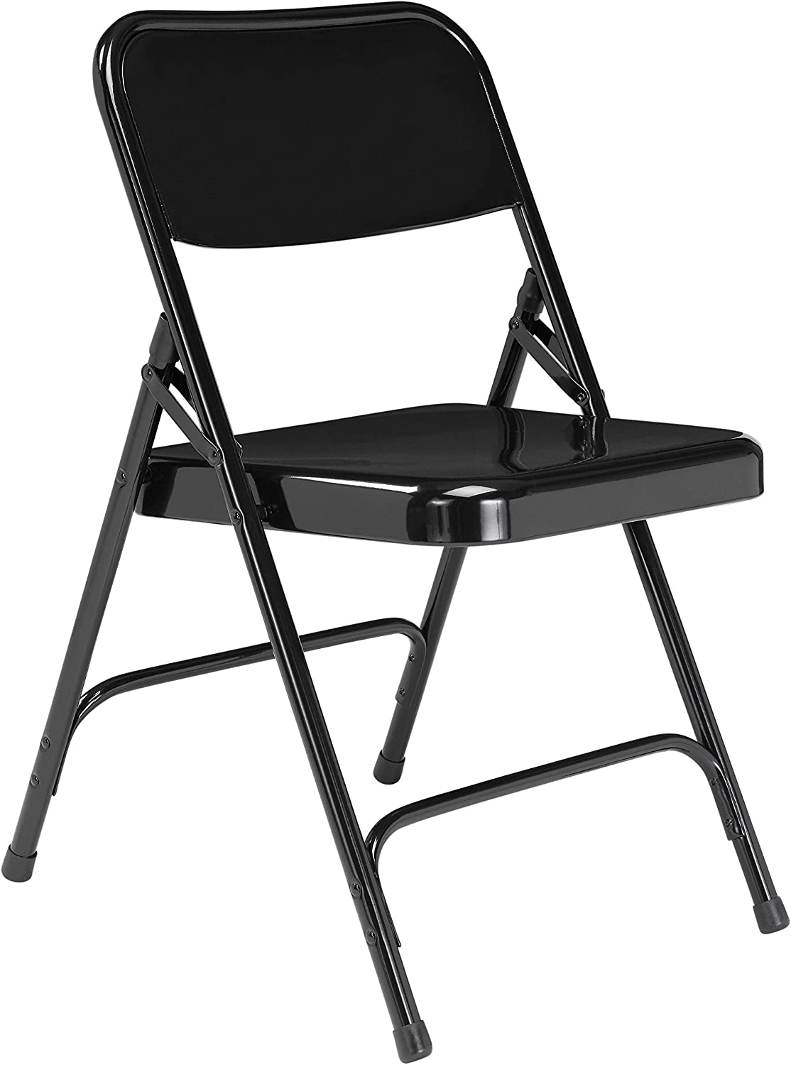 National Public Seating 200 Series All Steel Premium Folding Chair with Double Brace, 480-Pound Capacity, Black, Carton of 4