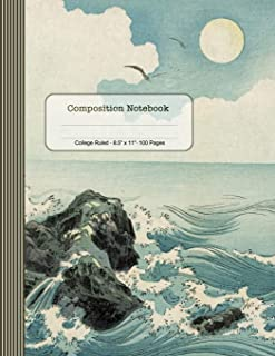 Composition Notebook: Journal (Large) - College Ruled Lined Paper Writing And Journaling Book - Ocean Waves Japanese Art