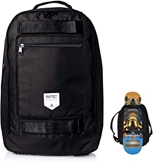 Black Laptop Backpack with Skateboard Straps