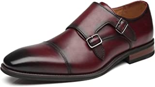 La Milano Mens Double Monk Strap Slip on Loafer Cap Toe Leather Oxford