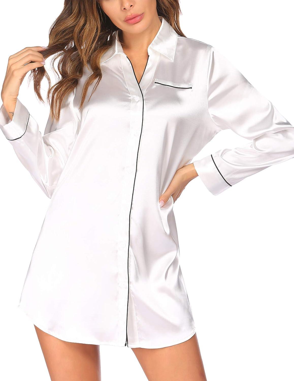 Ekouaer Women's Long Sleeve Satin Sleepshirt Button Down Nightgowns Silk Nightshirt Pajama Top Sleepwear S-XXL