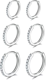 3 Pairs Sterling Silver Small Hoop Earrings Cubic Zirconia Cuff Earrings | Tiny