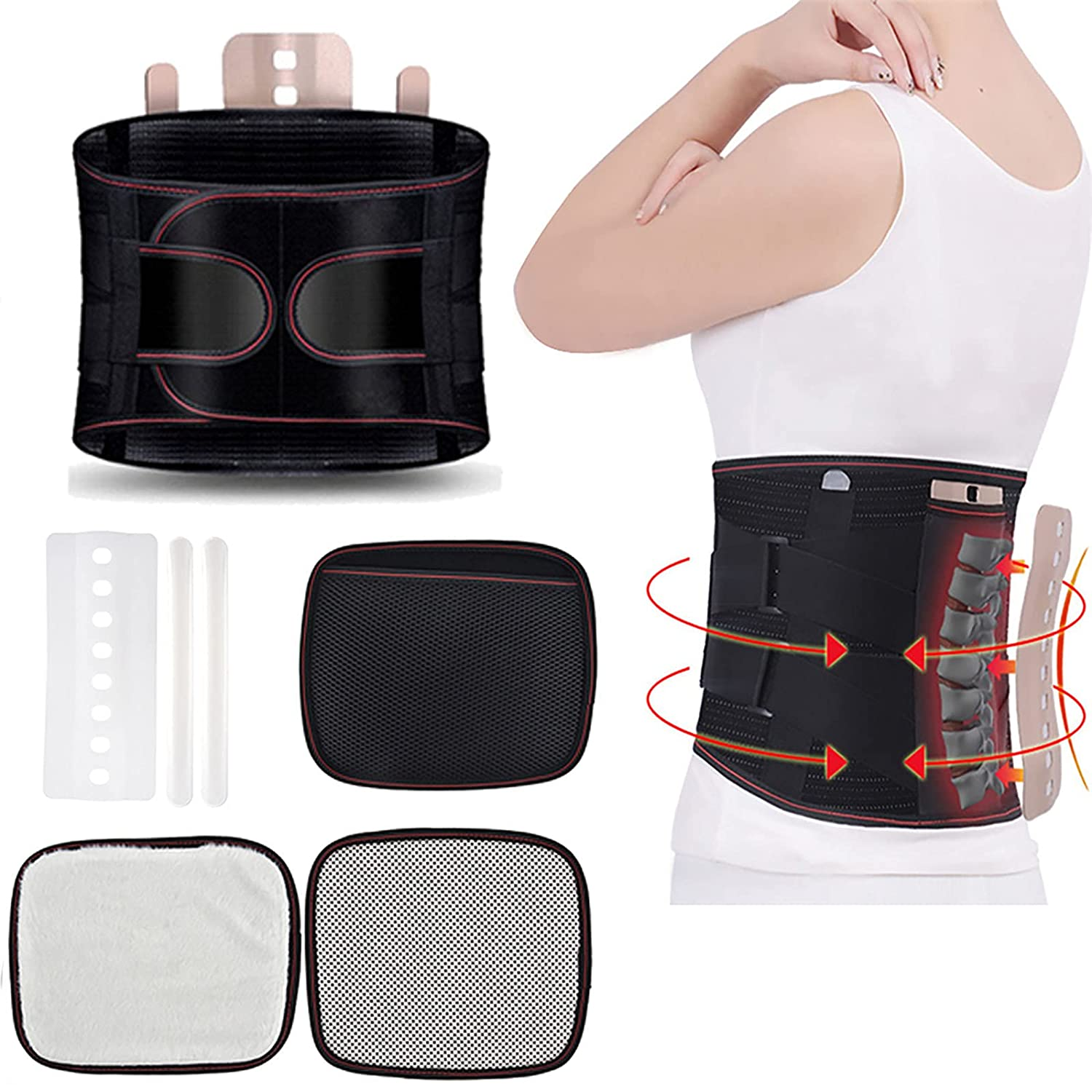 Orthopedic Lumbar Support Belt with Steel Plates and Heat Therapy,Back Support Brace Belt Lumbar Lower Back Waist Pain Relief Strap,for Men/Women Herniated Disc, Scoliosis (Black, S)