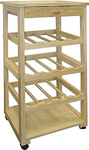 ORE International Wooden Wine Rack with Wheels