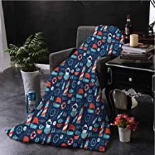 Anchor Soft Throw Blanket for Bed Couch Nautical Arrangement with Ship Captain Boats Helm and Compass Comfortable Soft Warm Large Blanket W70 x L70 Inch Dark Blue Vermilion Pale Blue