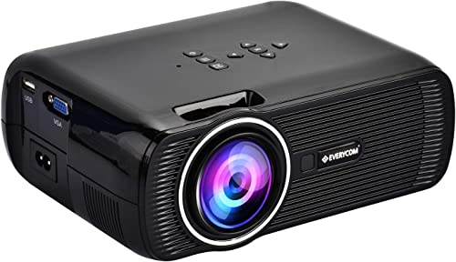 Everycom X7 LED Projector Full HD 1080P Supported, Compatible with Smartphone, TV Stick, USB , HDMI, VGA, AV, Home Th...