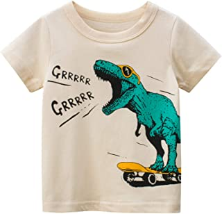 KANCOOL Toddler Boys T-Shirt Short Sleeve Tee for Baby Daily Tops Crewneck 100% Cotton [Beige Dinosaur, 7-9Y, L-21.3 in]