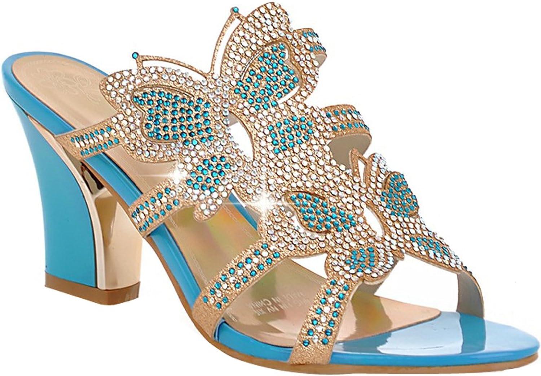 AIWEIYi Women's Thick High Heels Rhinestone Platform Sandals Leisure Slides bluee
