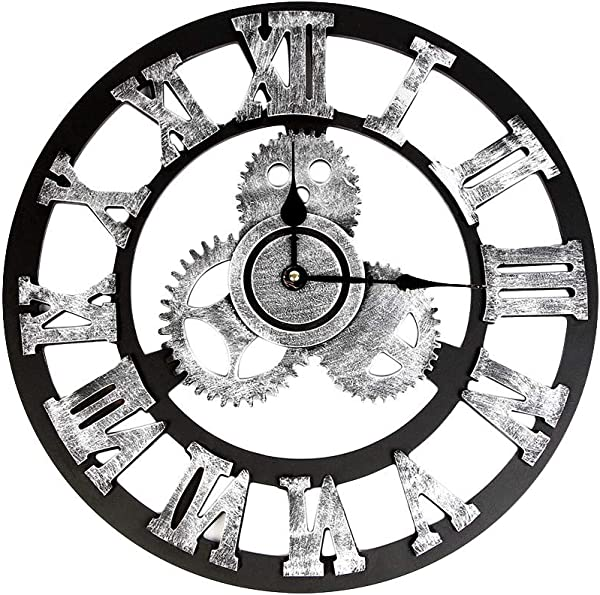 Shamrock58 Industrial Style Vintage Clock European Steampunk Gear Wall Home Decoration Gold Silver 32cm 40cm