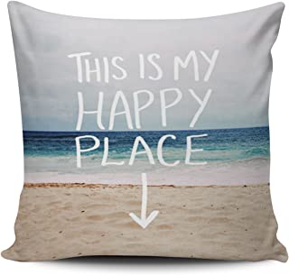SALLEING Custom Fashion Home Decor Pillowcase This is My Happy Place Beach Square Throw Pillow Cover Cushion Case 16x16 Inches One Sided Print