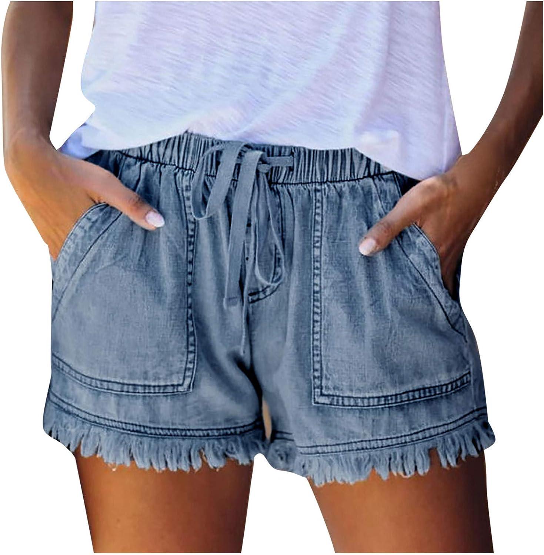 Denim Shorts for Women,Women's Summer Causal Mid Rise Denim Shorts Casual Beach Women Jeans Shorts