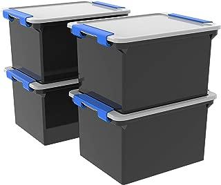 Storex Storage File Tote with Locking Handles, Black/Silver, 4-Pack (61543U04C)